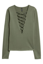 Top with lacing - Khaki green - Ladies | H&M IE 2