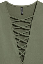 Top with lacing - Khaki green - Ladies | H&M IE 3