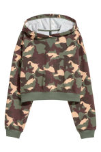 Cropped hooded top - Khaki green/Patterned - Ladies | H&M IE 2