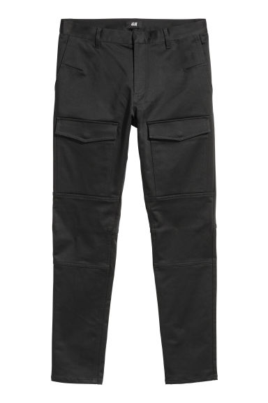 Satin biker trousers - Black -  | H&M