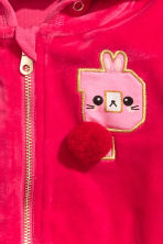 Hooded velour jacket - Raspberry pink - Kids | H&M 3