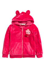 Hooded velour jacket - Raspberry pink -  | H&M 2
