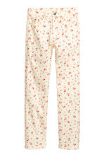 Ankle-length stretch trousers - White/Floral - Ladies | H&M CN 2