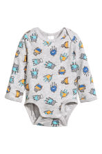 Long-sleeved bodysuit - Grey/Robot - Kids | H&M 1