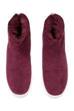 Lined suede boots - Burgundy - Ladies | H&M 2