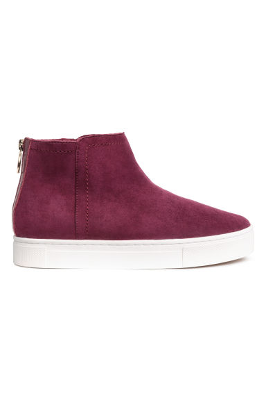 Lined suede boots - Burgundy - Ladies | H&M 1