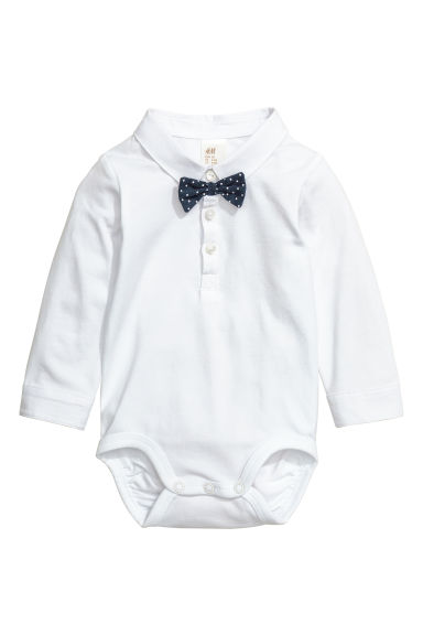 Bodysuit with a bow tie - White - Kids | H&M 1