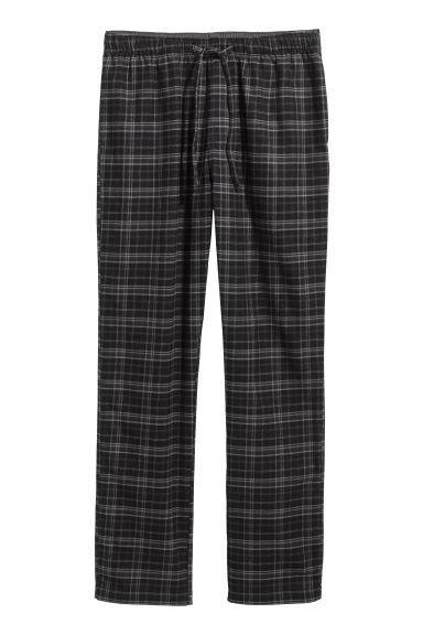 Flannel pyjama bottoms - Black/Grey checked - Men | H&M CN