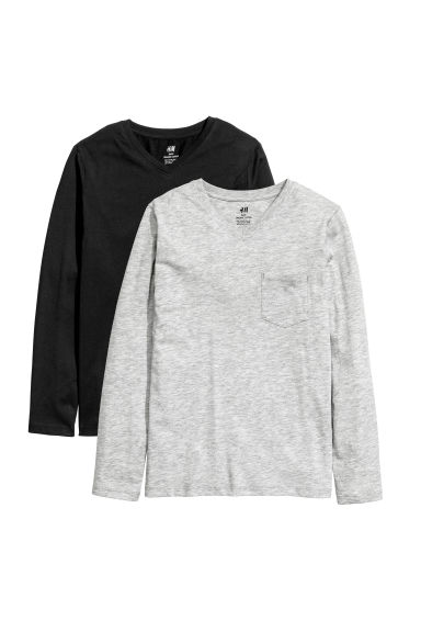 2-pack jersey tops - Black/Grey - Kids | H&M