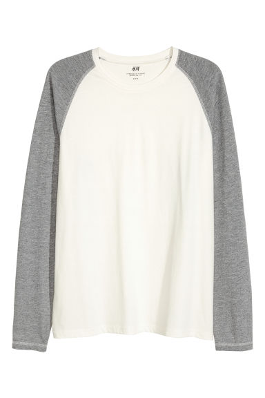 Baseball top - Natural white/Grey marl - Men | H&M