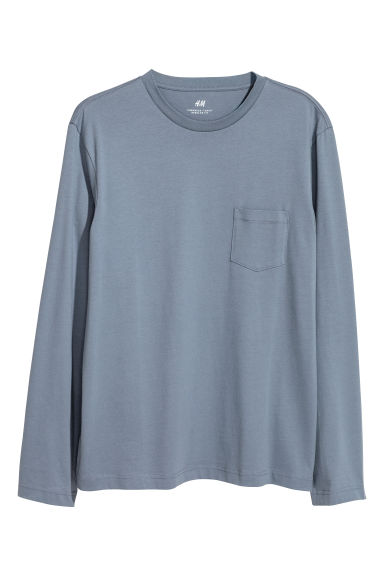 Long-sleeved top - Pigeon blue - Men | H&M 1