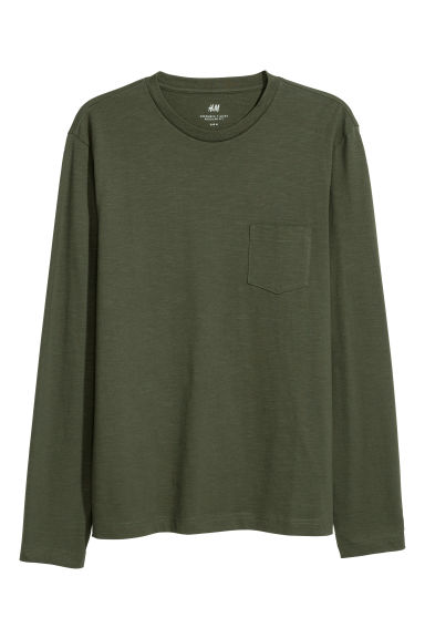 Long-sleeved top - Dark khaki green - Men | H&M CN
