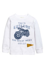Long-sleeved T-shirt - White/Motorbike - Kids | H&M CA 2