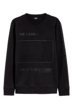 Printed sweatshirt - Black - Men | H&M 2