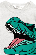 Fine-knit printed jumper - Light grey/Dinosaur -  | H&M 3
