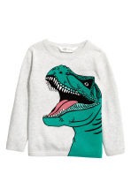 Fine-knit printed jumper - Light grey/Dinosaur -  | H&M 2