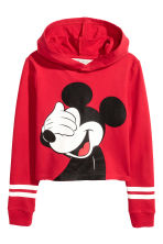 Cropped hooded top - Red/Mickey Mouse - Kids | H&M 2