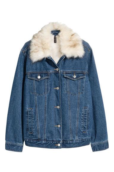 Veste en jean doublée peluche - Bleu denim foncé - | H&M FR