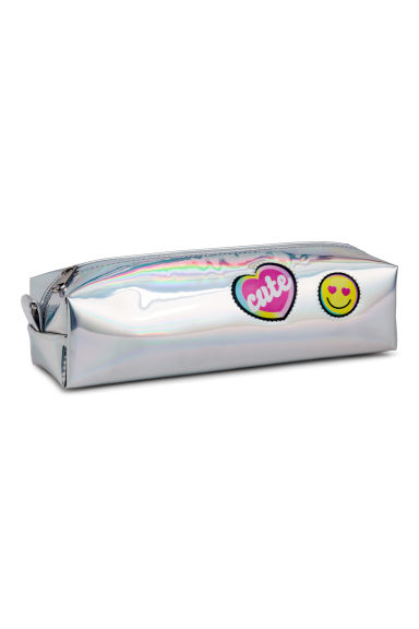 Shimmering pencil case - Silver-coloured/Rainbow - Kids | H&M