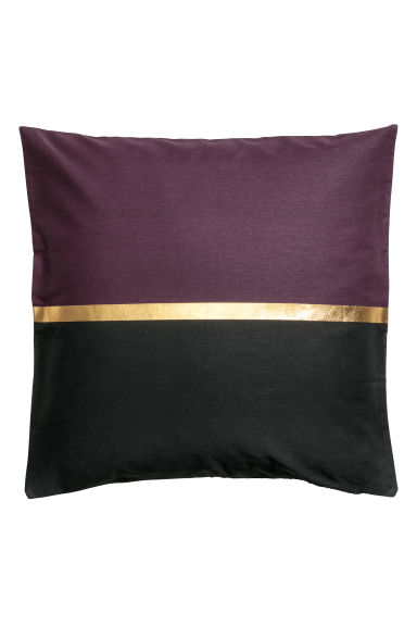 Block-patterned cushion cover - Dark purple/Gold-coloured - Home All | H&M IE