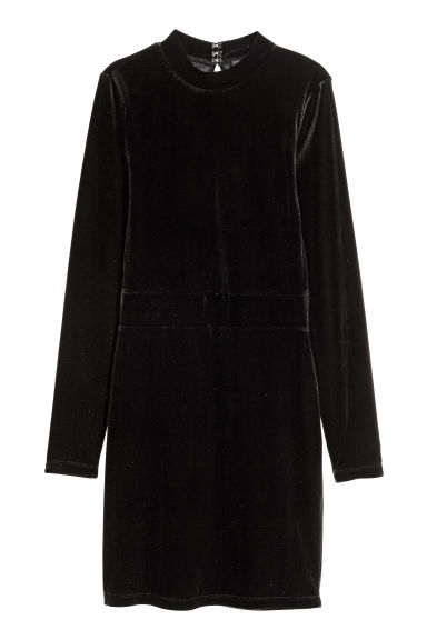 Fitted velvet dress - Black - Ladies | H&M CN