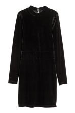 Fitted velvet dress - Black - Ladies | H&M 2