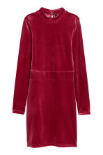 Fitted velvet dress - Raspberry red - Ladies | H&M IE 2