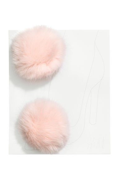 Faux fur shoe decoration - Light pink - Ladies | H&M