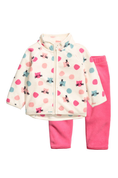 Fleece jacket and joggers - White/Pink -  | H&M 1