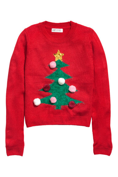 Fine-knit jumper - Red/Christmas tree - Kids | H&M CN