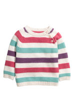 Knitted jumper - White/Multicoloured - Kids | H&M CN 1