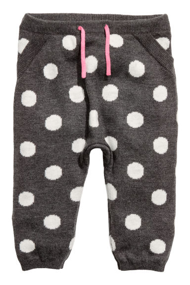 Jacquard-knit joggers - Dark grey/Spotted - Kids | H&M IE