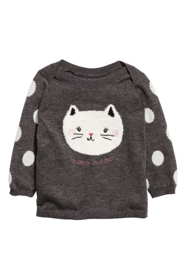 Jacquard-knit jumper - Dark grey/Cat - Kids | H&M GB