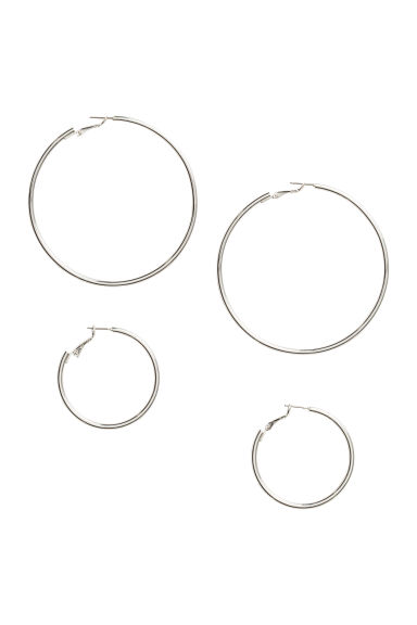 2 pairs hoop earrings - Silver - Ladies | H&M CN 1