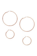 2 pairs hoop earrings - Rose gold-coloured - Ladies | H&M 1