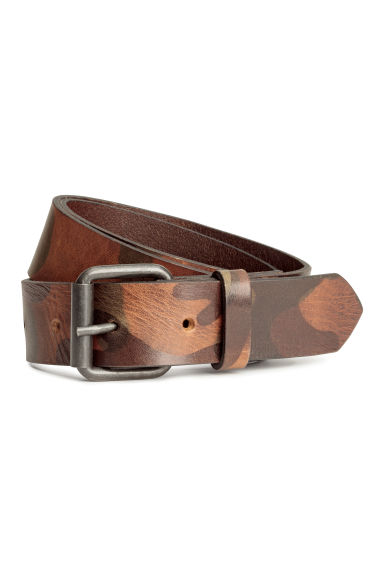 Patterned leather belt - Dark brown/Patterned - Men | H&M 1