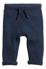 Textured-knit trousers - Dark blue -  | H&M 1