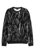 Jacquard-knit jumper - Black/White patterned - Men | H&M CN 2