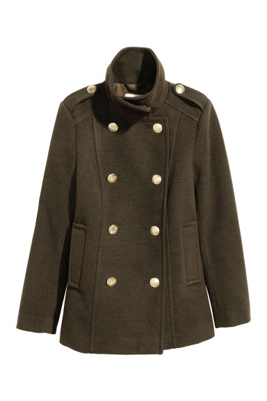 Pea coat - Khaki green -  | H&M