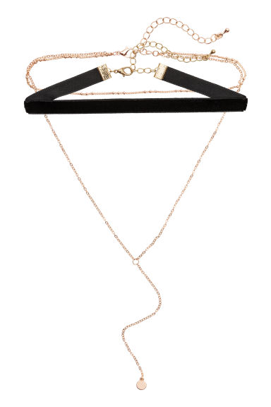 Set van 2 chokers - Goudkleurig/zwart - DAMES | H&M BE 1