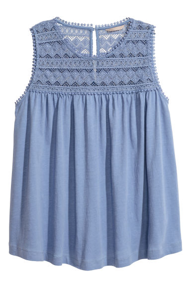 H&M+ Top with a lace yoke - Pigeon blue - Ladies | H&M