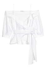 Wrapover cotton blouse - White - Ladies | H&M 2