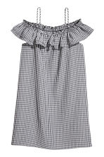 露肩洋裝 - Black/White/Checked - Ladies | H&M 2