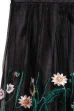Embroidered mesh skirt - Black/Floral -  | H&M CA 3