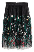 Embroidered mesh skirt - Black/Floral -  | H&M CA 2