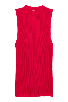 Ribbed sleeveless jumper