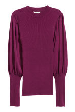 Jumper with balloon sleeves - Dark purple - Ladies | H&M 2