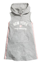 Hooded jersey dress - Grey marl/New York -  | H&M CN 2
