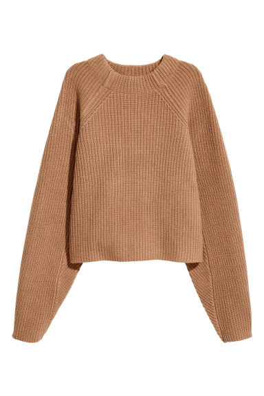 Knitted wool jumper - Camel - Ladies | H&M CN