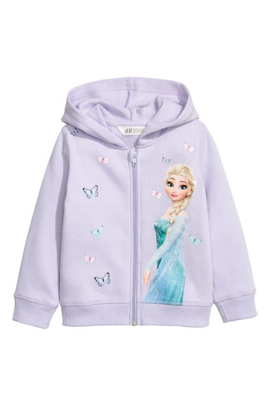 Printed hooded jacket - Light purple/Frozen - Kids | H&M CN 1